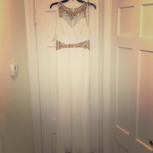 White and rose gold gown